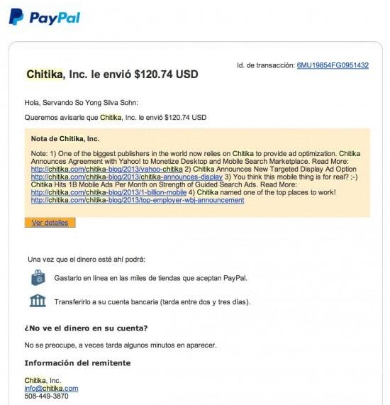Chitika prueba de pago