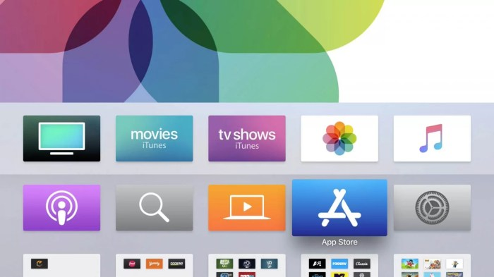Choose Settings to update Apps on Apple TV