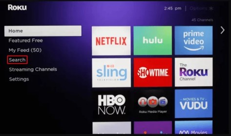 Tap on Search to access SoundCloud on Roku