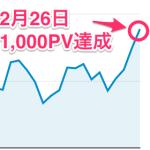 初めての1,000PV/日 突破