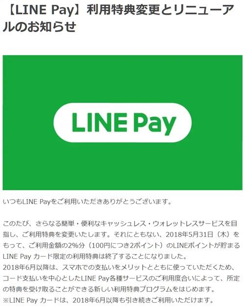LINE Pay カードのポイント2%還元終了