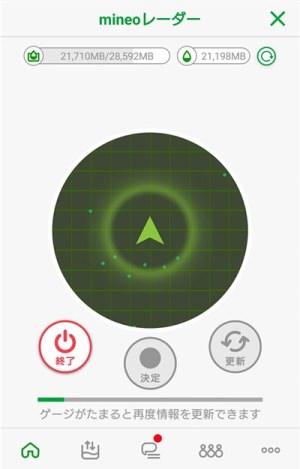 mineoレーダー画面