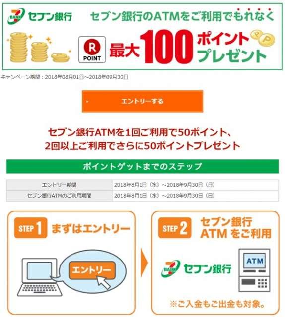 ATM利用でもれなく最大100ポイントプレゼント