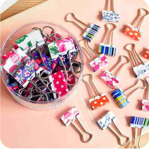patterned binder clips for office supplies