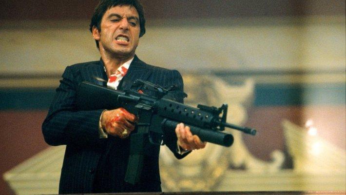 Al Pacino is Cuban thug turned Miami drug lord Tony Montana in Brian De Palma's 'Scarface'