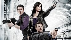 Kai Owen, Eve Myles, and John Barrowman in the BBC series 'Torchwood'