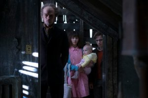 """Neil Patrick Harris, Malina Weissman, and Louis Hynes in """"A Series of Unfortunate Events."""""""