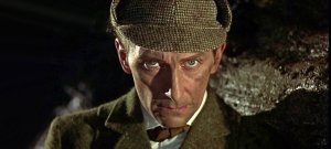 Peter Cushing is Sherlock Holmes in the Hammer version of the Arthur Conan Doyle classic
