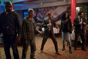 Mike Colter, Scott Glenn, Finn Jones, Krysten Ritter, and Charlie Cox in Marvel's The Defenders