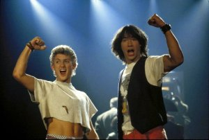 Alex Winter and Keanu Reeves are Bill and Ted in the cult slacker comedy