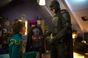 Aaron Johnson, Chloë Grace Moretz, and Nicolas Cage star in the superhero movie by Matthew Vaughn