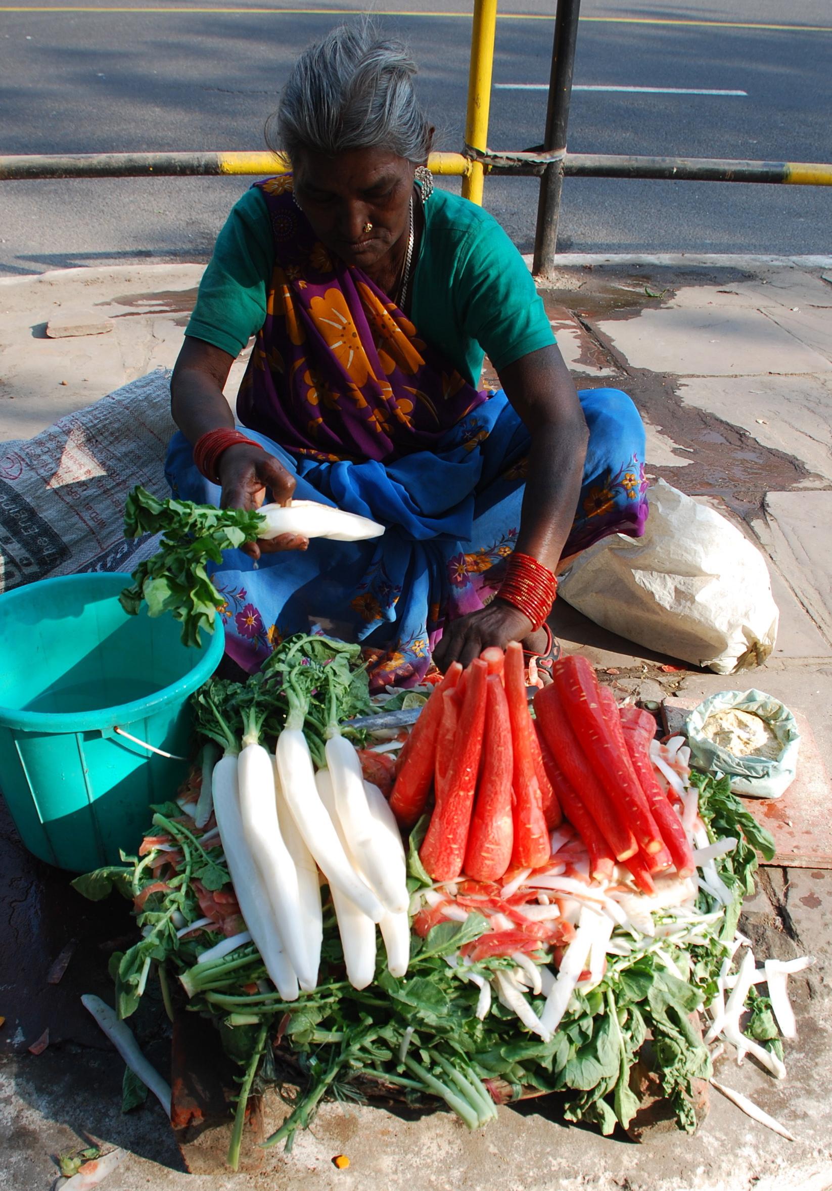 Radish and Carrot Street Food Vendor in Delhi