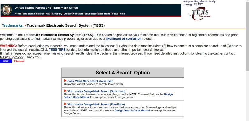The USPTO's TESS search engine