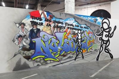 Psy Break the wall, réalisation in situ