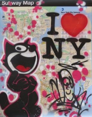 """""""Big subway Map with a Pink Felix"""" Lin Felton alias Quik, technique mixte sur map de NYC, Las Vegas, 2017 ©Galerie Green Flowers Art"""