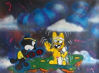 """""""Le Chat the Rat Meets Felix"""" Lin Felton alias Quik,technique mixte sur toile, Las Vegas, 2018 ©Green Flowers Art Gallery"""