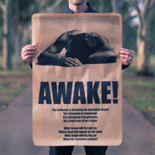 Un des messages diffusé par l'artiste engagé, visible dans les grandes villes australiennes ©Peter Drew