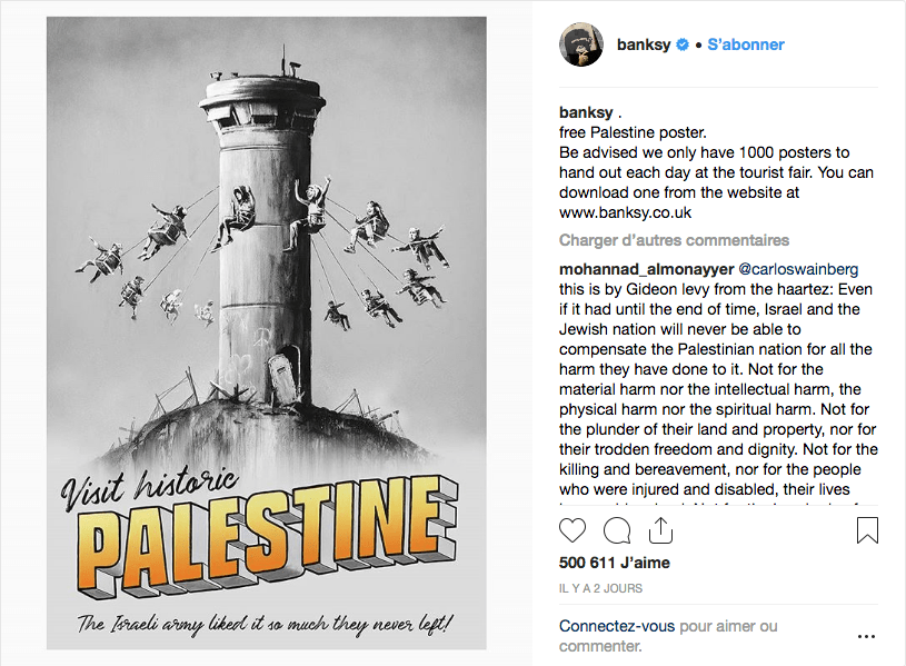 Screenshot_2018-11-09 Banksy sur Instagram free Palestine poster Be advised we only have 1000 posters to hand out each day [...]
