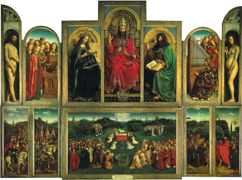L'Adoration de l'Agneau mystique peinte par Hubert et Jan van Eyck en 1432, polyptyque unique conservé à la cathédrale Saint-Bavon de Gand