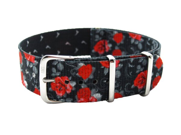 Printed Rose And Gun Pattern Ballistic Nylon NATO Watch Strap