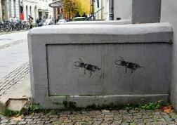 das stencil zeigt zwei Hirschkäfer
