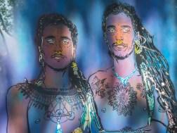 männliches Pärchen von Adey in Blau gehalten