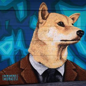 Hier trägt ein Hund einen Anzug