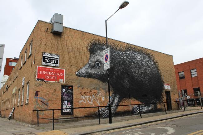 Roa Street Art London Chance Street 2 ROA Hedgehog pops up in Shoreditch