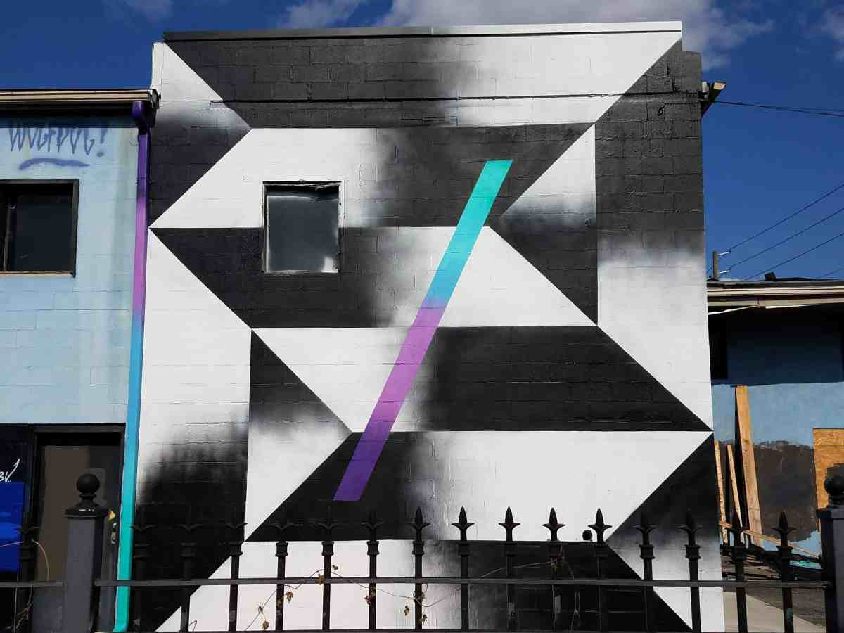Black and white geometric patterned mural by artist Wolfdog in Old Forth Ward Atlanta