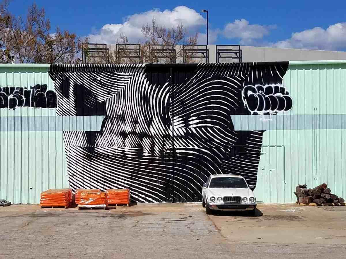 Street art featuring a skull by artist 2alas in Old Fourth Ward Atlanta