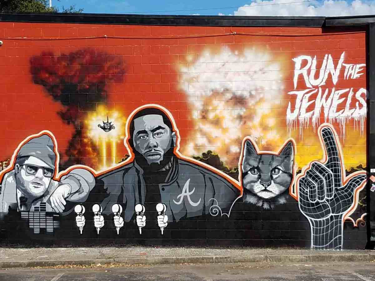 Mural featuring Run the Jewels by artist Skie in Little Five Points