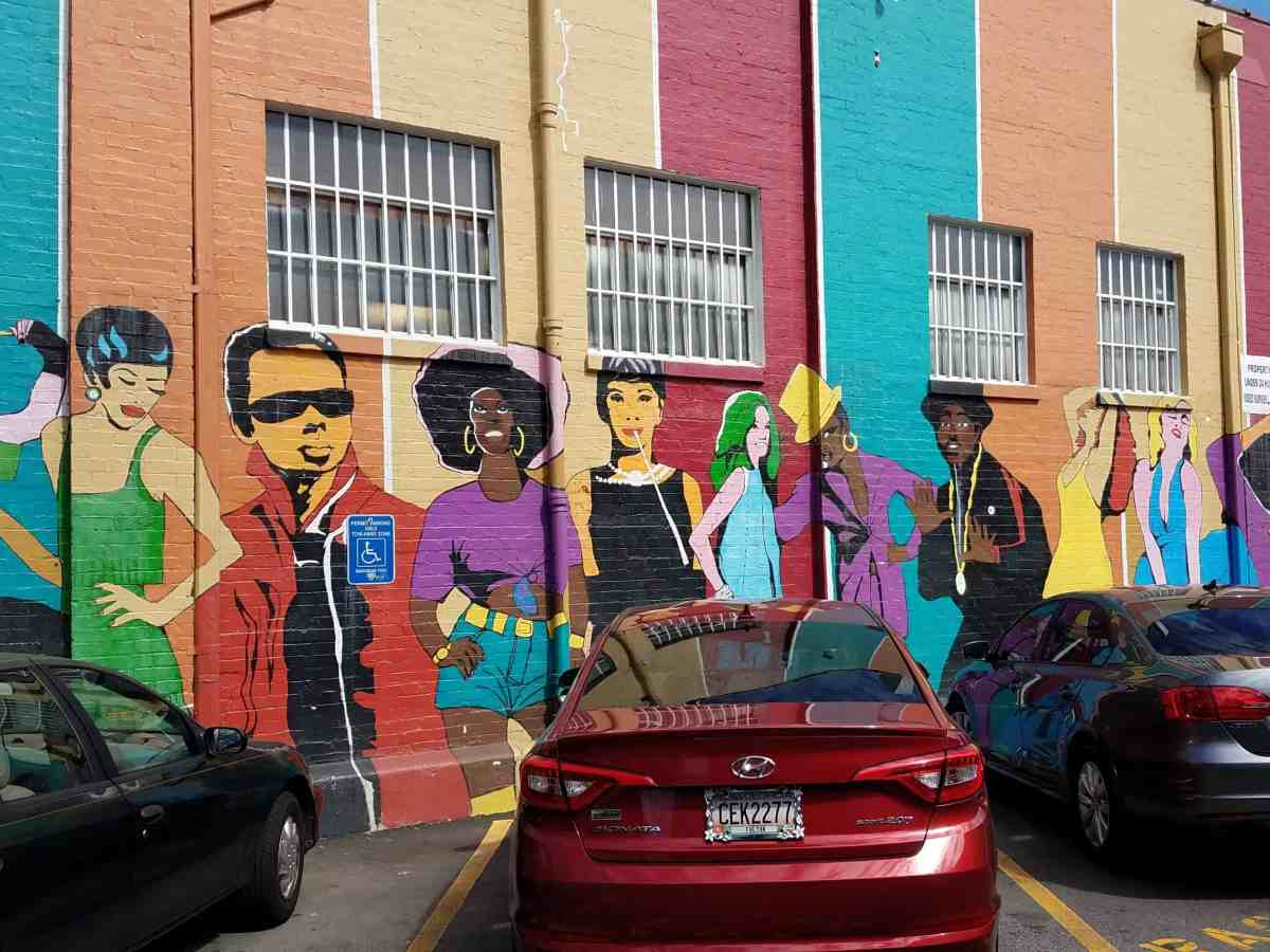 Mural featuring images of celebrities in Little Five Points