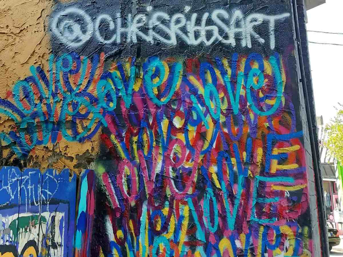 Graffiti festuring the word Love by artist Chris Riggs in Little Five Points