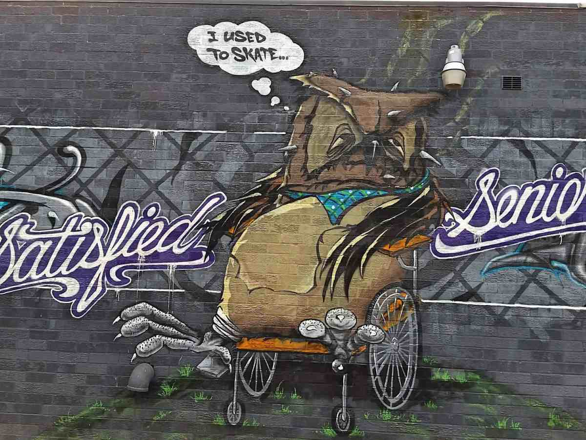 Mural of an Owl in a wheel chair by artist Mr. Never Satisfied