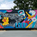 Mural by Greg Mike featuring Donald Duck and Larry Loudmouf