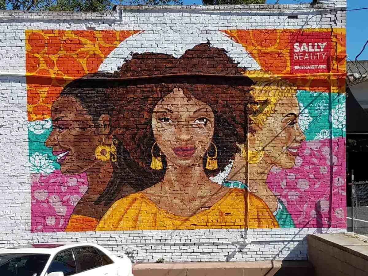 Street art showing a woman's face