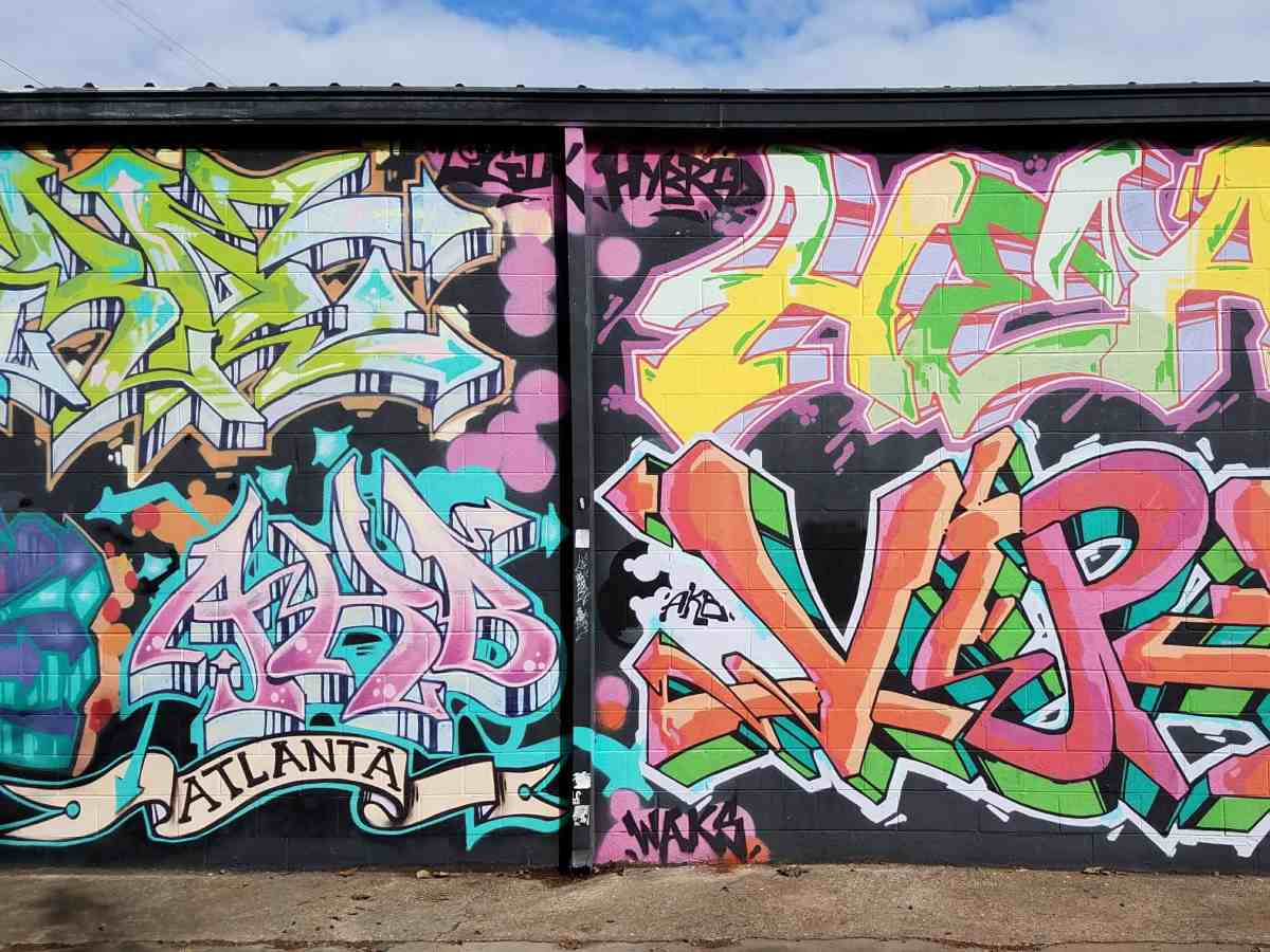Graffiti composite by several artists in Old Fourth Ward Atlanta