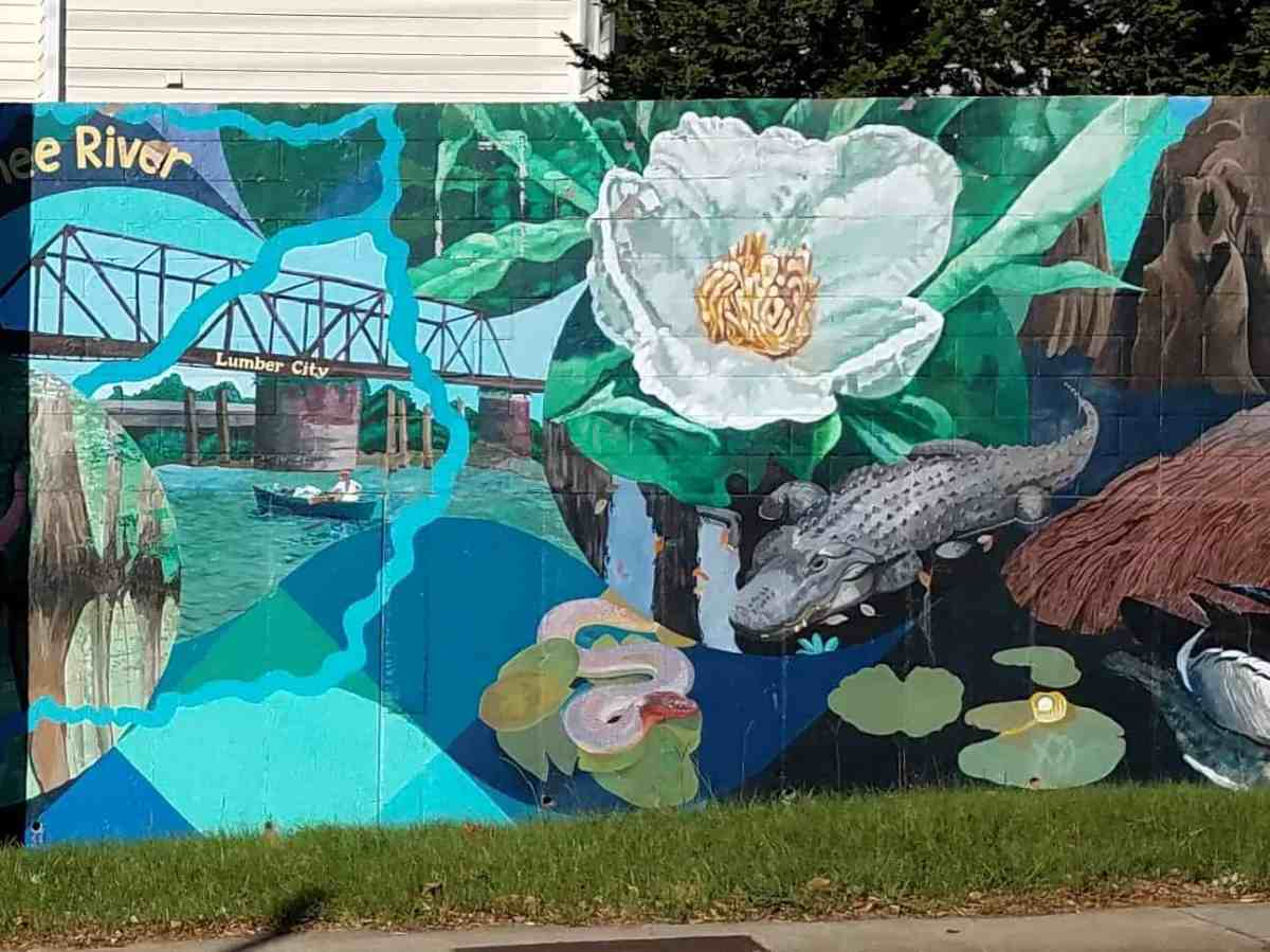 Mural featuring a magnolia by artist David Fichter
