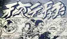 Comic book style mural featuring Asian style caligraphy by Brandon Sadler
