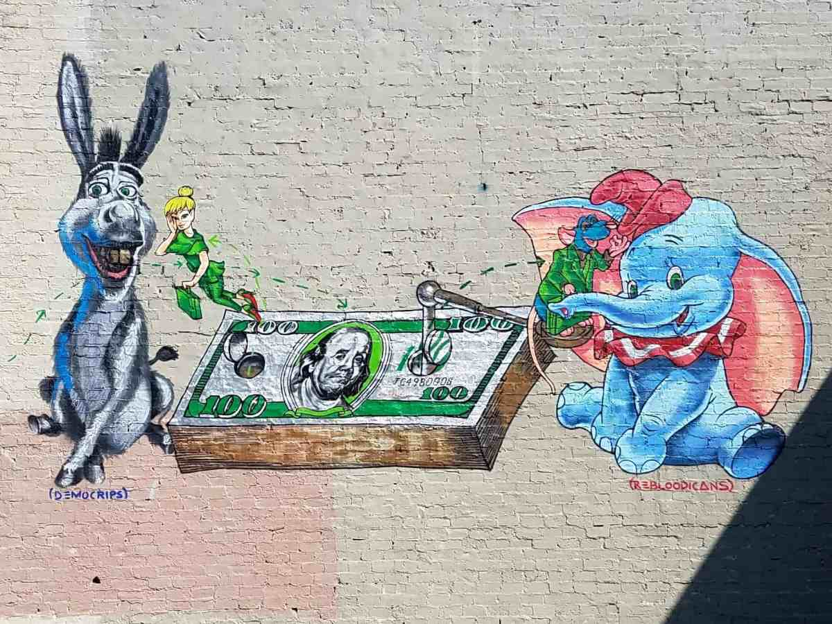 street art featuring an elephant and a donkey by artiat Fabian Williams in East Atlanta