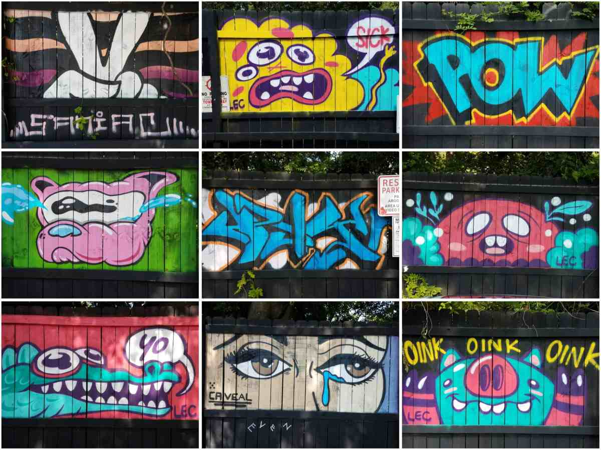 street art painted onto several panels of a fence by various artists