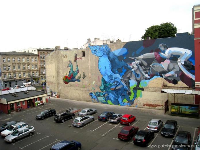 18 Galeria Urban Art Forms in Lodz, Poland. By Sat One and Etam Cru
