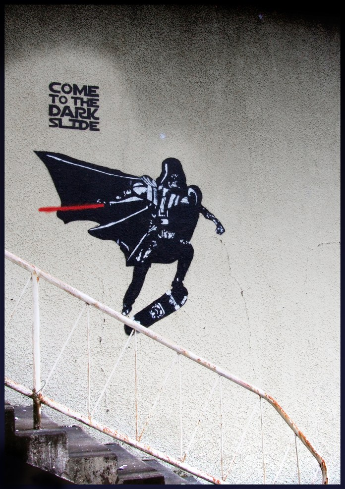 Street Art by Blouh Come to the dark slide