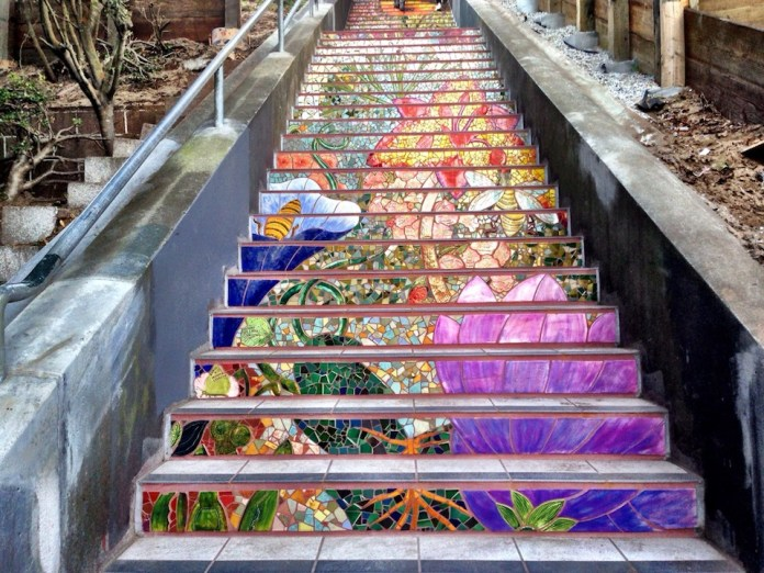 Mosaic Staircase in Inner Sunset, San Francisco, USA 3