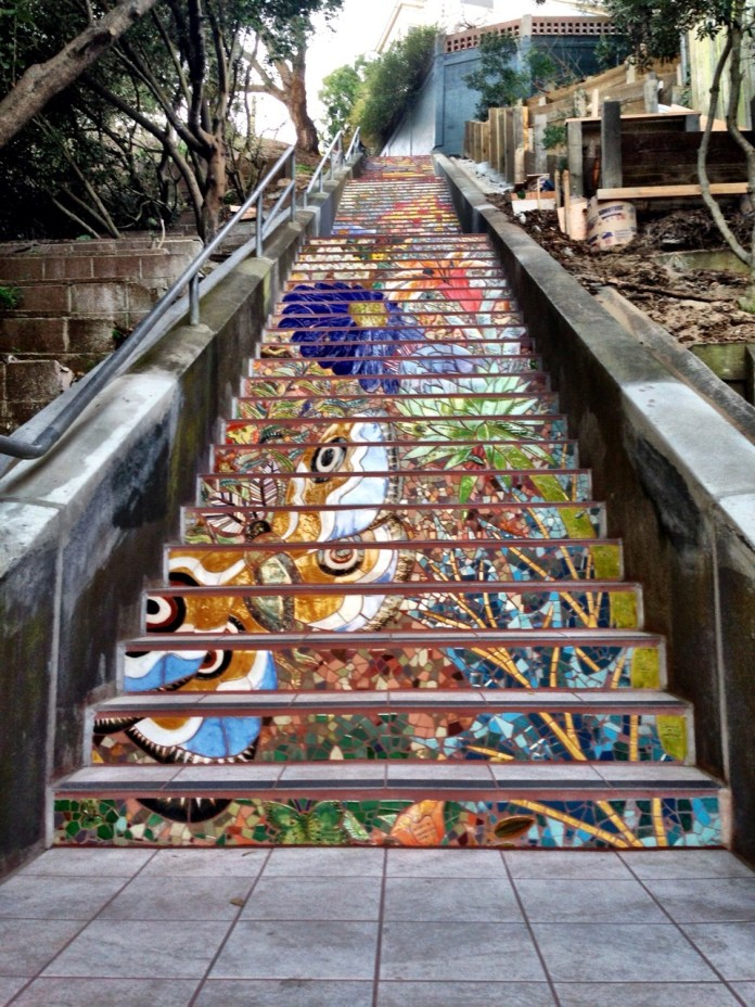 Mosaic Staircase in Inner Sunset, San Francisco, USA 4