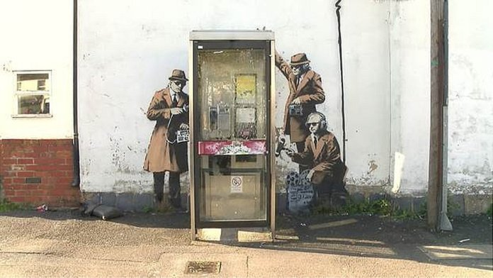 Phone Lovers - Street Art by Banksy in Bristol, England 36