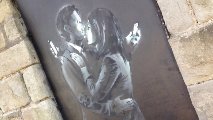 Phone Lovers - Street Art by Banksy in Bristol, England 5
