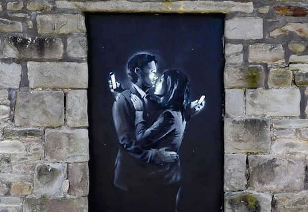 Phone Lovers - Street Art by Banksy in Bristol, England fb