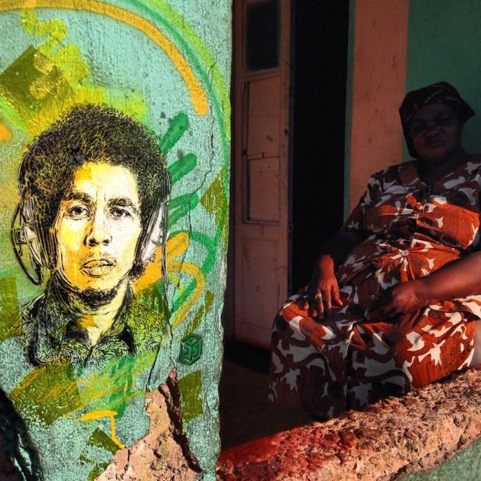 Street Art by C215 in Nine Mile, Jamaica 2. Portrait of Bob Marley