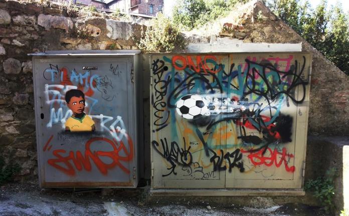 Street Art FIFA World Cup in Rio de Janeiro, Brazil, - By Profilo Inesistente